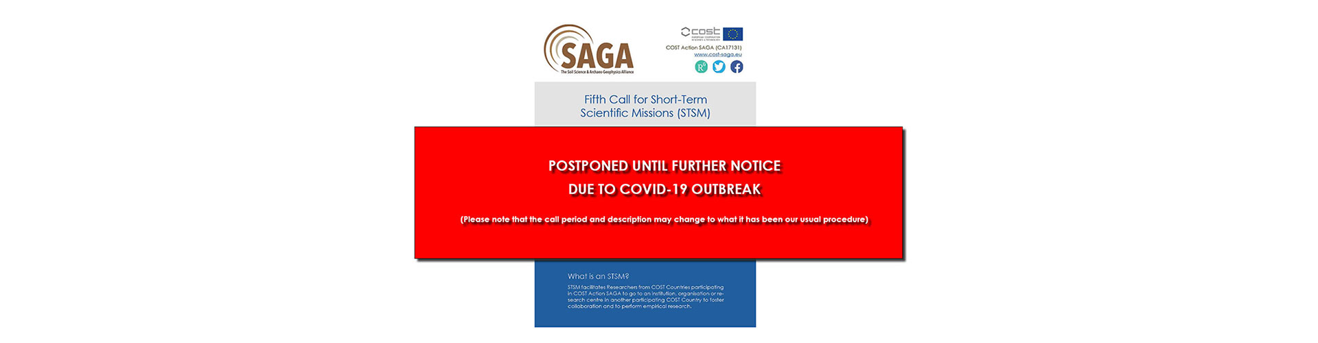 ***5th Call for STSM postponed until further notice due to COVID-19 outbreak***