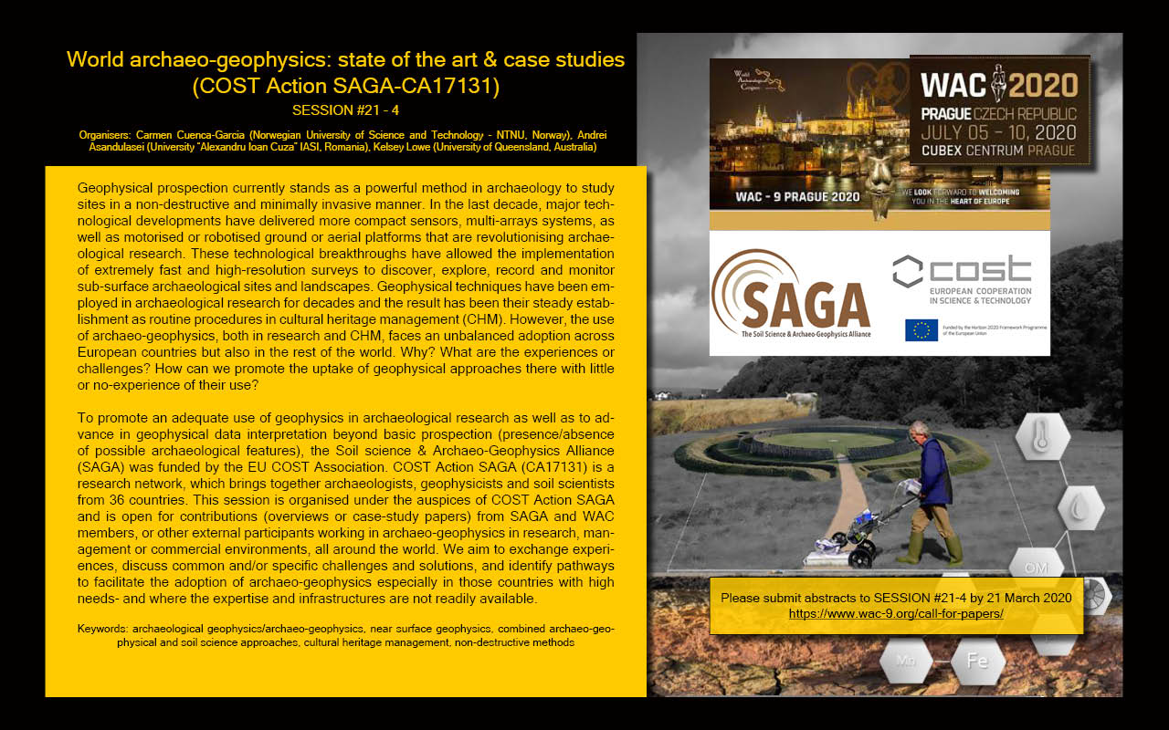 "Call for papers for #WAC9. Session #21-4 ""World archaeo-geophysics: state of the art & case studies (COST Action SAGA-CA17131)"""